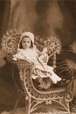 ANTIQUE DOLL CHILD GIRL VIctorian wicker chair sepia photograph canvas art print