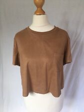 Forever 21 Size Medium Tan Brown Faux Suede T-Shirt Side Pocket Top Cropped