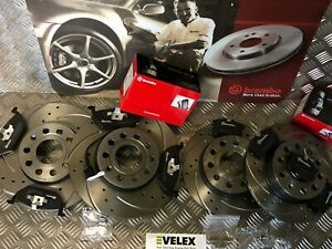 DRILLED & GROOVED BREMBO DISCS & PADS FITS AUDI A3 S LINE VW GOLF MK7 2004-2017