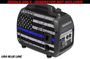 Decal Wrap For Honda EU2000i Skin Camping Generator Engine Sticker USA BLUE LINE