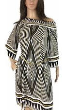 Freeway Women Dress Off Shoulder Boho Relaxed Loose Fit and Flare Chevron Small