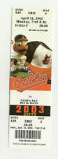 Baltimore Orioles Vs Tampa Bay Devil Rays April 21 2003 Unused Suite Ticket