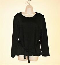 Levvie Nina Leonard Women's Size 1X Petite Knit Black Belted Sweater Long Sleeve