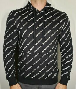 NWT Men's True Religion L/S All Over TR Printed Hoodie Medium Black $129!