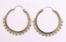 Large Brass Hoops Earring Vintage Gypsy Fashion Jewelry Tribal Boho Women Hooks