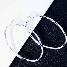 18K White Gold Filled Twisted Sleek Oval Shaped Modern Silver Hoop Earrings