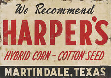 HARPER'S - HYBRID CORN-COTTON SEED ADVERTISING METAL SIGN