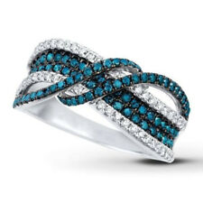 #7 Charm Women 925 Silver Filled Infinity Blue Sapphire Gemstone Wedding Rings
