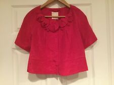 Rebecca Taylor Cropped Red Jacket With Rosettes, Size 4