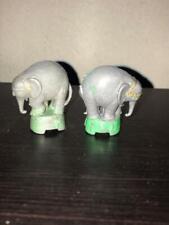 Wild Animals - 2 Circus Elephants - Made in Hong Kong. Gray Plastic