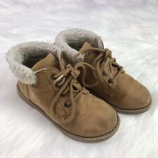 Old Navy Toddler Kids Brown Fur Lined Lace Up Boots Shoes 10