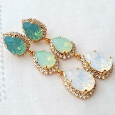 Fashion Aquamarine Emerald White Sapphire Crystal Stud Hoop Dangle Earrings S
