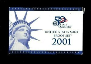 2001-S UNCIRCULATED U.S. MINT 10 PIECE PROOF SET INCLUDING 5 STATE QUARTERS.