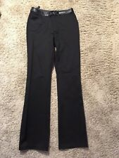 HARLEY-DAVIDSON BLACK LEATHER TRIMMED PANTS size 6 Tall/Long? Nylon/Spandex  Z77