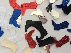 Cowboy Boot Western Party Confetti, Black, Silver, Gold, Red, Blue,White