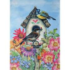 """New listing Water Color Birdhouse, Pink Flowers, Birds, Small Garden Flag 12.5"""" X 18"""""""