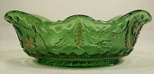 Antique EAPG US Glass Emerald Green Gold Delaware Pattern Banana Bowl Cr;1899