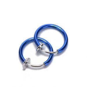 2x Clip-On Spring Action Non-Piercing Fake Septum Lip Cartilage Nose Tragus Ring