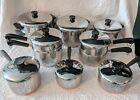 Vtg Revere Ware Copper Bottom 19 Piece Set Pots/Pans/Lids/Steamers/Double Boiler