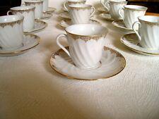 12 TASSES à CAFE - PORCELAINE DE LIMOGES - Filet OR -DECORATEUR CNP