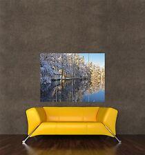 Impresión de cartel gigante Foto paisaje escénico de invierno heladas Lago reflexión pamp072