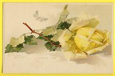 cpa Magnifique LITHO MEISSNER & BUCH C. KLEIN Rose Jaune Goutte d'Eau Papillon