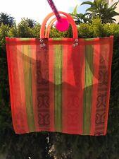 Orange Shopping Market Mexican Bag. Mesh Medium Reusable Beach Tote.
