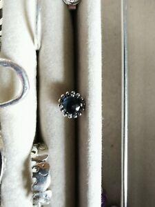 Single Pandora earrings with blue crystal