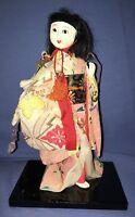 "Vtg Japanese Geisha Oriental Girl Figure Brocade Kimono 8"" Gofun? Glass Eyes?"