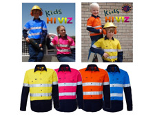 NEW! KIDS HI VISIBILITY COTTON WORK SHIRT WITH TAPE ALL SIZES ALL COLOURS