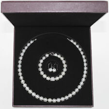 New Bridal AAAA Pearl Necklace, Bracelet, and Earring Set