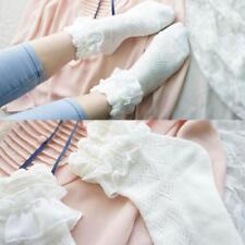 White Soft Vintage Ankle Socks Princess Short Stockings Lace Ruffle Frilly