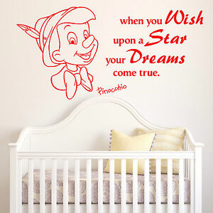 PINOCCHIO when you wish upon a star nursery DISNEY vinyl wall art sticker quote