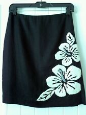 """Vtg- """"Kelly and Diane"""" Black Linen Beautiful Sequin and Bead Flowers Size 2P"""