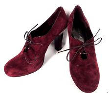 NINE WEST MAROON SUEDE PUMP CLASSIC OXFORD ANKLE BOOTIE HIGH HEEL WOMEN SZ 7.5 M