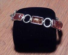 """7"""" Vintage rectangle Amber Sterling Silver 925 Linked Bracelet"""