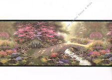 Thomas Kinkade Stone BRIDGE OF FAITH Landscape Black Trim Wall paper Border