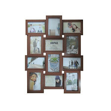 Multi Aperture Photo Picture Frame - Holds 12 X 6''X4'' Photos   Brown -1014BR