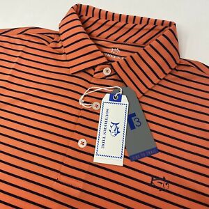 Southern Tide Men's Mango Orange Blue Striped Short Sleeve Golf Polo Shirt New