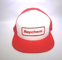 Vintage Red Snap Back Mesh Trucker Hat White Panel Raychem Patch  Adjustable 80s