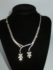 Statement Rhinestone Crystal Collar Necklace Silver Tone Shiny Floral Holiday