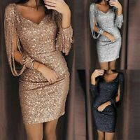 UK Womens Sequin Bodycon Evening Party V-neck Sparkly Sexy Club Cocktail Dress