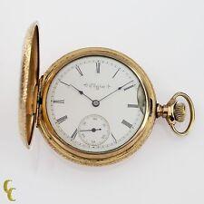 14k Gold Filled Elgin Full Hunter Pocket Watch 16 Jewel Size 6S 1898 Gr 272
