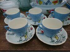 x5 Vintage BROADHURST TEA COFFEE CUPS SAUCERS SHANGHAI RETRO 50's RARE