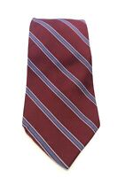 Brooks Brothers Stain Resistant Mens 100% Silk Woven Tie Striped Red Blue USA