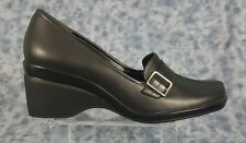 Rockport Waterproof Size 9M Black  Leather Slip On  Buckle Style Heels