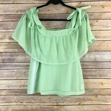 Puma Womens Athletic Top Extreme Off  Shoulder Tee Perforated Ruffles Green M