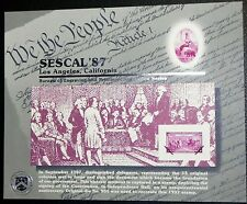 BEP 1987 SOUVENIR CARD LOS ANGELES 1937 3¢ CONSTITUTION SIGNING STAMP B110 MINT