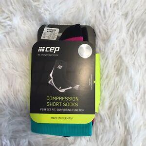 CEP Women's Dyn. + Short Socks  Compression Sock Lagoon/ Pink Size II US 4.5-6.5