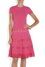 VALENTINO Lace-Paneled Stretch Knit Dress in Fuchsia $1,953